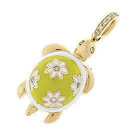 Aaron Basha 18K Yellow Gold and Enamel Turtle Charm Pendant