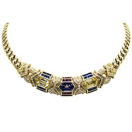 Bvlgari, 18 Karat Gold, Ruby, Sapphire and Diamond Link Necklace