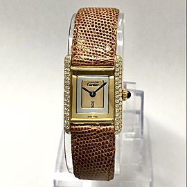 Must de CARTIER TANK Goldplated Watch Diamond Bezel Trinity Dial