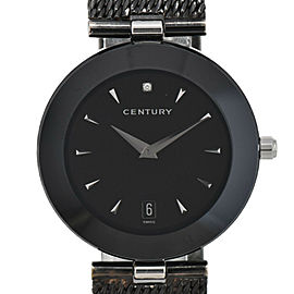 CENTURY TIME GEM Black Dial Stainless Steel Quartz Men's Watch