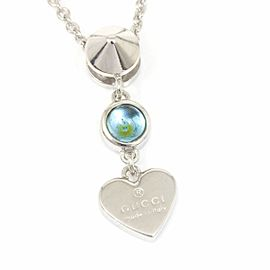 Gucci Sterling Silver Blue Topaz Chain Heart Pendant Necklace CHAT-159