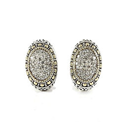Effy's Sterling Silver 18K Yellow Gold Oval Pave Diamond Dome Earrings