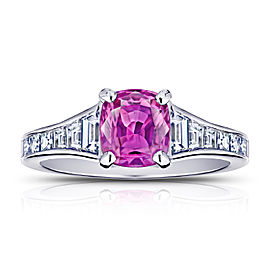 Platinum 1.38ctw. Sapphire 0.84ctw. Diamond Ring Size 7