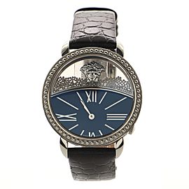 Versace Krios Quartz Watch Stainless Steel and Crocodile Embossed Leather 38