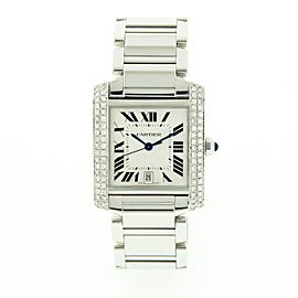 Cartier Tank Francaise 2302 Stainless Steel and Diamond 28mm Quartz Unisex Watch