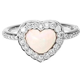 Christian Dior 18K White Gold 0.35ct Diamond Heart Ring Size 5.75