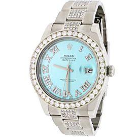 Rolex Datejust II 41MM Stainless Steel Automatic Mens Oyster Watch w/Custom Diamond Dial Bezel Bracelet
