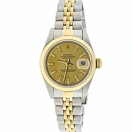 Rolex Datejust Ladies 2-Tone 18K Yellow Gold/Steel 26MM Original Champagne Index Dial Jubilee Watch 69173