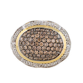 18k Yellow Gold with Brown And White Diamond Pave Ring Size 6.5