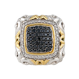 Charles Krypell 18k Yellow Gold and Sterling Silver with Black And White Diamond Pave Ring Size 6.5