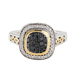 Charles Krypell Sterling Silver and 18k Yellow Gold with Black And White Diamond Pave Ring Size 6.5
