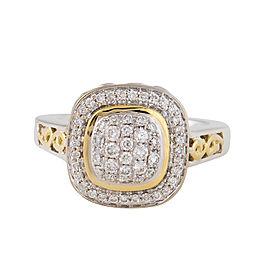 Charles Krypell Sterling Silver and 18k Yellow Gold with White Diamond Pave Ring Size 6.5