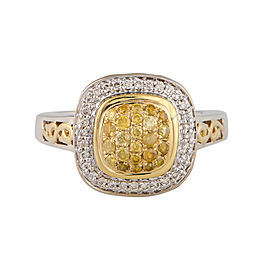 Charles Krypell Sterling Silver and 18k Yellow Gold with Natural Yellow And White Diamond Pave Ring Size 6.5