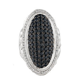Charles Krypell Sterling Silver with Black And White Sapphire Pave Ring Size 6.5