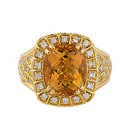 18k Yellow Gold Citrine And Diamond Ring Size 6.5
