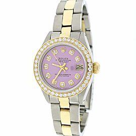 Rolex Datejust Ladies 2-Tone Gold/Steel 26MM Automatic Oyster Watch w/Lavender Diamond Dial & Bezel
