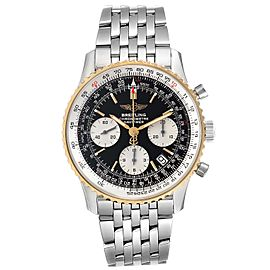 Breitling Navitimer Steel Yellow Gold Black Dial Mens Watch D23322 Box Papers