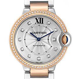 Cartier Ballon Blue Steel Rose Gold Diamond Ladies Watch WE902078 Box Papers