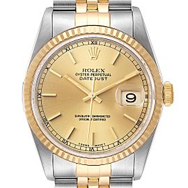Rolex Datejust Steel 18K Yellow Gold Fluted Bezel Mens Watch 16233 Papers
