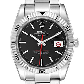 Rolex Datejust Turnograph Black Dial Steel Mens Watch 116264 Box
