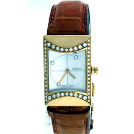 Fred Limited Edition 18K Yellow Gold Mother of Pearl Diamond Dial and Bezel 20mm x 30mm Watch