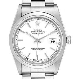 Rolex Datejust White Dial Steel Mens Watch 16200 Box