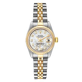 Rolex Datejust Steel Yellow Gold MOP Diamond Dial Ladies Watch 79173