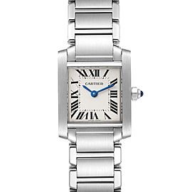 Cartier Tank Francaise Silver Dial Blue Hands Ladies Watch W51008Q3 Box Card