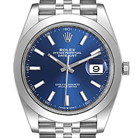 Rolex Datejust 41 Blue Dial Jubilee Bracelet Steel Mens Watch 126300 Box Card