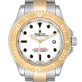 Rolex Yachtmaster White Dial Steel Yellow Gold Mens Watch 16623 Box Card