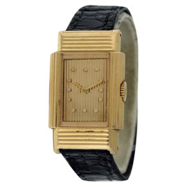 Boucheron Classique 18K Yellow Gold & Leather Manual Wind 18mm Womens Watch