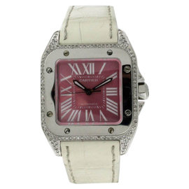 Cartier Santos 100 W20133X8 Stainless Steel Diamond Unisex Watch