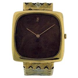 Audemars Piguet Classique 18K Yellow Gold & Wood Dial Mens Vintage Watch