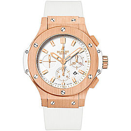 Hublot Big Bang 18K Rose Gold with White Dial 44mm Mens Watch