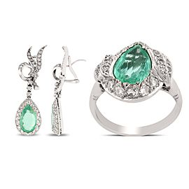 18K White Gold Emerald Diamond Earrings and Ring Size 7
