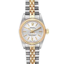Rolex Oyster Perpetual NonDate Ladies Steel Yellow Gold Watch 76193 Box Papers