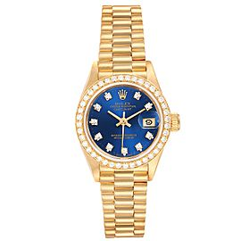 Rolex President Datejust Yellow Gold Diamond Bezel Ladies Watch 69178