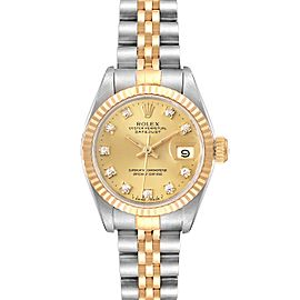 Rolex Datejust 26mm Steel Yellow Gold Diamond Ladies Watch 69173 Box