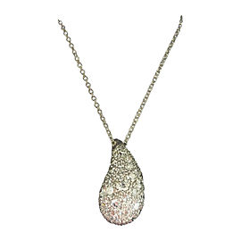 Tiffany & Co. Elsa Peretti Platinum XL Tear Drop Pave Diamond Necklace