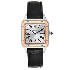 Cartier Santos Dumont Large Steel Rose Gold Mens Watch W2SA0011 Box Papers
