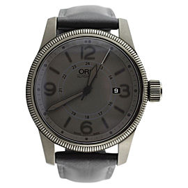 Oris Big Crown Date Stealth Black and Gray Calfskin Strap Watch