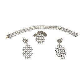 18K White Gold Diamond Necklace Earrings Bracelet