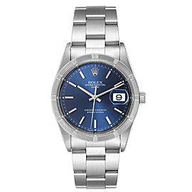 Rolex Date Blue Dial Oyster Bracelet Steel Mens Watch 15210
