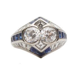 Adler 18K White Gold Diamond and Blue Sapphire Ring