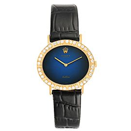 Rolex Cellini Yellow Gold Blue Dial Diamond Ladies Watch 4083