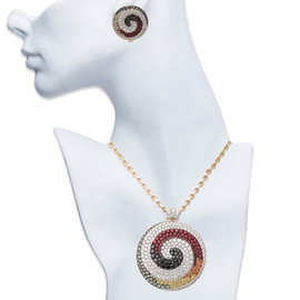 Valente Milano 18K Yellow and White Gold Diamond and Gem Earring and Necklace Set