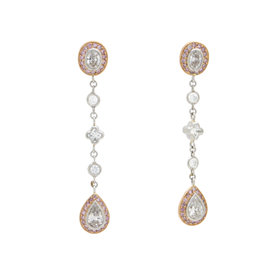 Michael Beaudry Platinum 18k Rose Gold 2.50ctw. Diamond Earrings