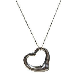Tiffany & Co. 925 Sterling Silver Elsa Peretti Open Heart Pendant Necklace