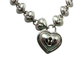 Tiffany & Co. Sterling Silver Padlock Lock Heart Charm Link Necklace