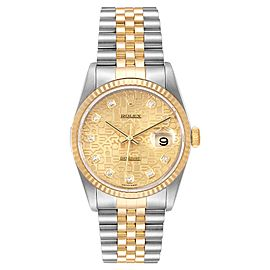 Rolex Datejust Steel 18K Yellow Gold Diamond Dial Mens Watch 16233 Box Papers